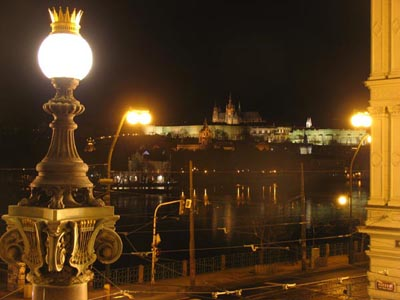View of the Prague Castle from the balcony of the National Theater